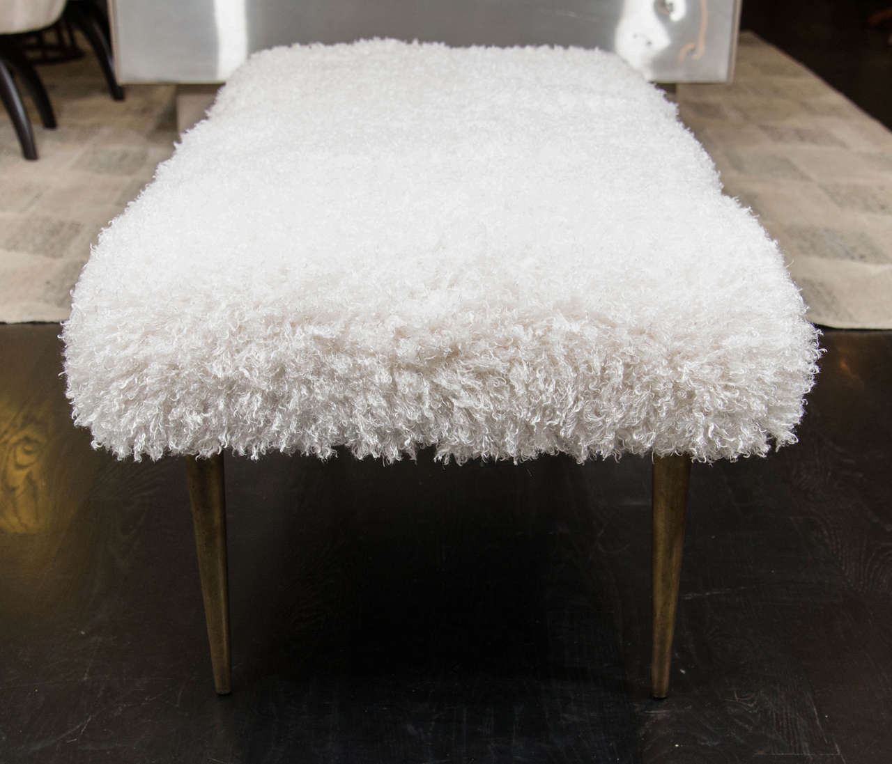 Brass French Faux Fur Bench For Sale