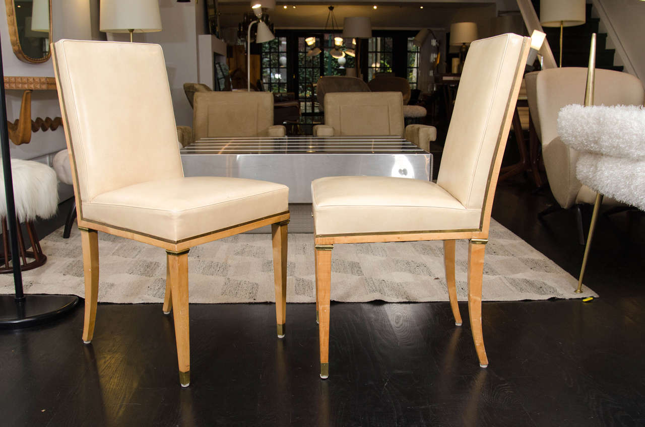 Beau Set Of 12 Blond Mahogany Dining Chairs By Andre Arbus. Upholstered In Cream  Leather And