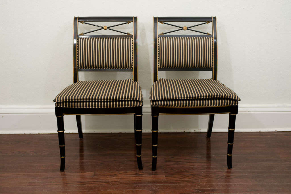 Set Of Eight Regency Style Dining Chairs By Drexel Heritage At 1stdibs