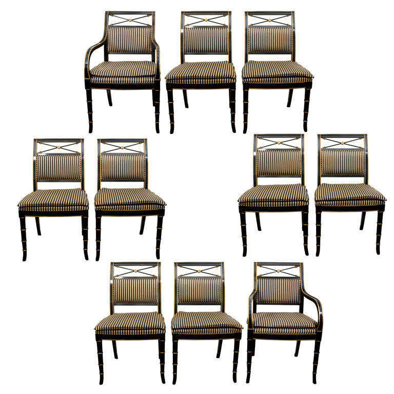 set of eight regency style dining chairs by drexel