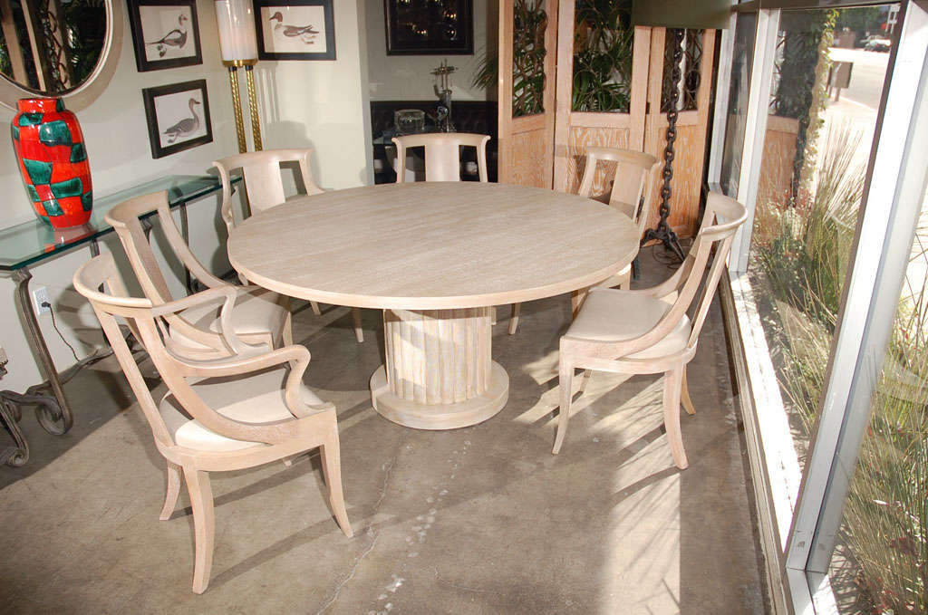 Bleached Mahogany Dining Table and Chairs at 1stdibs