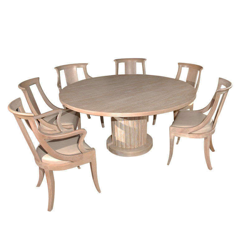 Bleached mahogany dining table and chairs at 1stdibs for Mahogany dining room furniture