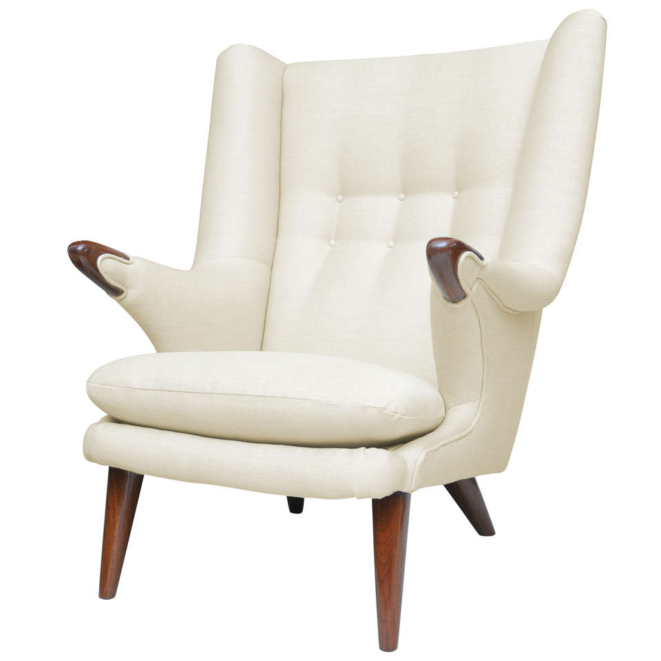 Danish Modern Wing Chair, Probably Svend Skipper For Sale