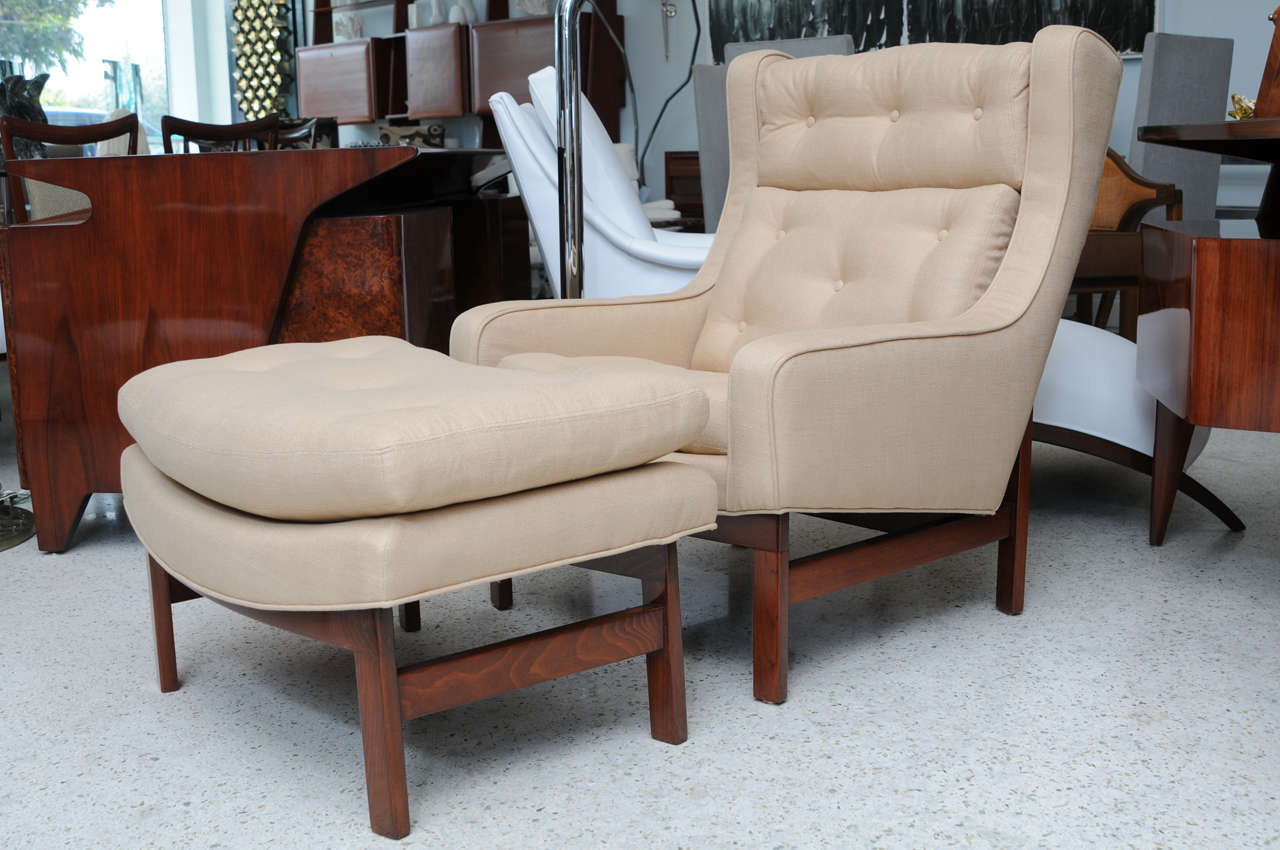 Wing chair with ottoman - A Dunbar Dark Walnut Wing Chair And Ottoman 2