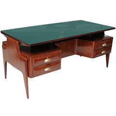 Mahogany Glass and Brass Executive Desk, Paolo Buffa