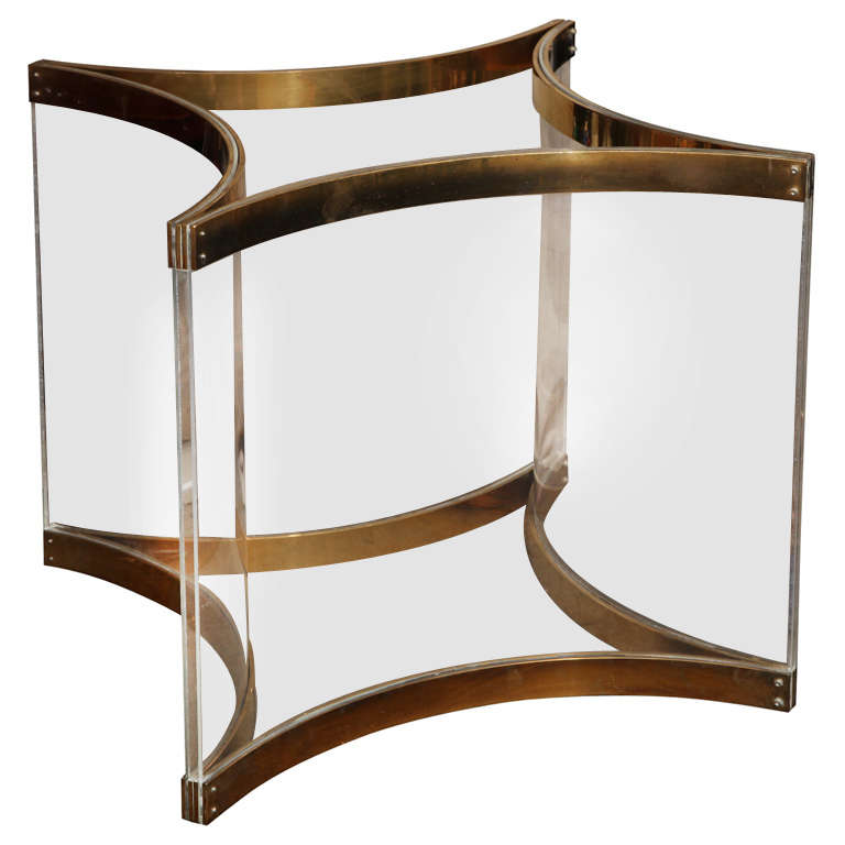 Lucite brass dining or center table base by albrizzi at for Cuir center table basse