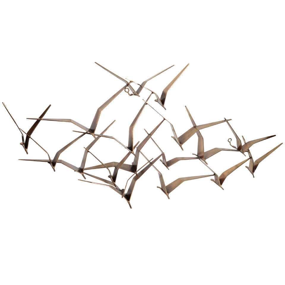 Curtis jere flock of birds bronze wall sculpture at 1stdibs for Bronze wall art