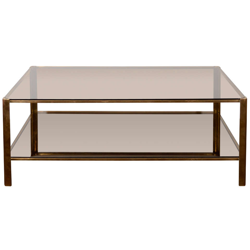 Modernist Bronze Low Cocktail Table With Smoked Glass By Jacques Quinet At 1stdibs