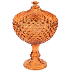 Exquisite Stylized Amber Glass Footed Bowl/Covered Compote