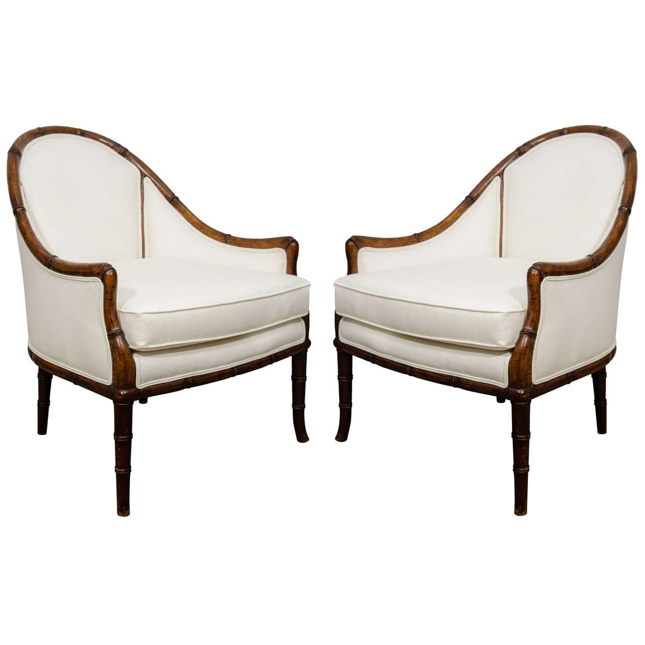 Bamboo arm chairs - A Pair Of Vintage Faux Bamboo Arm Chairs 1
