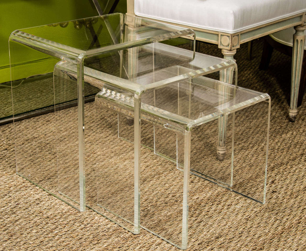 A set of three lucite nesting tables at stdibs