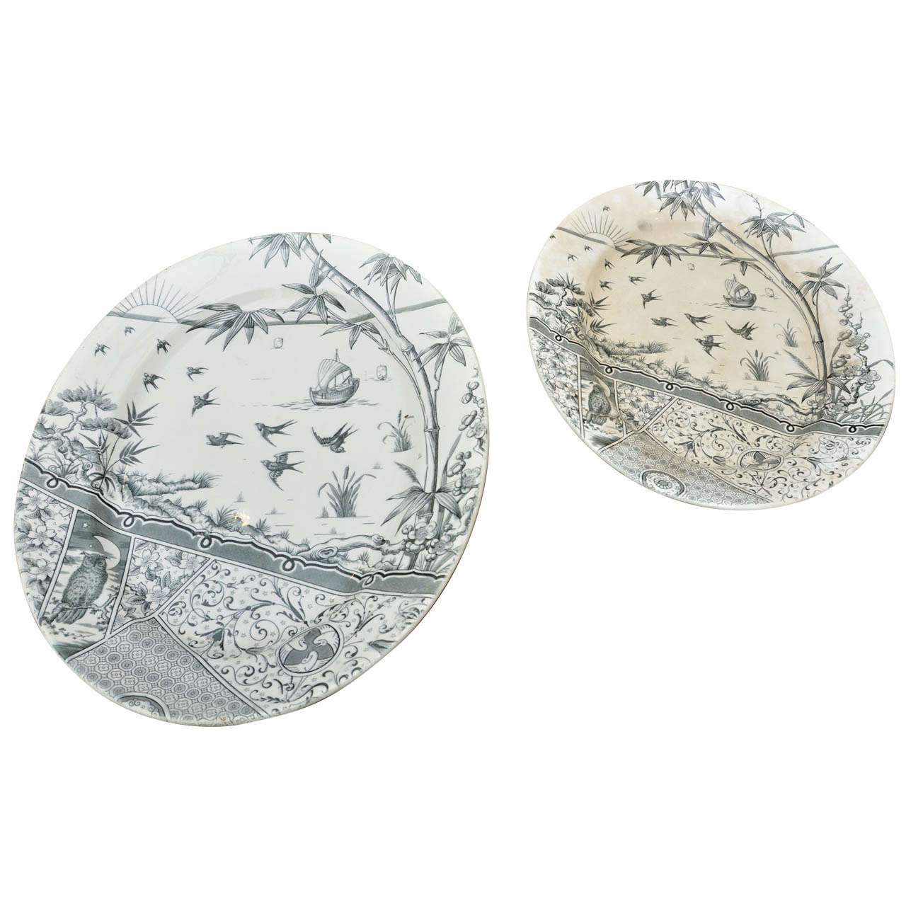 2 Large Aesthetic Movement --Melbourne Pattern Meat Platters