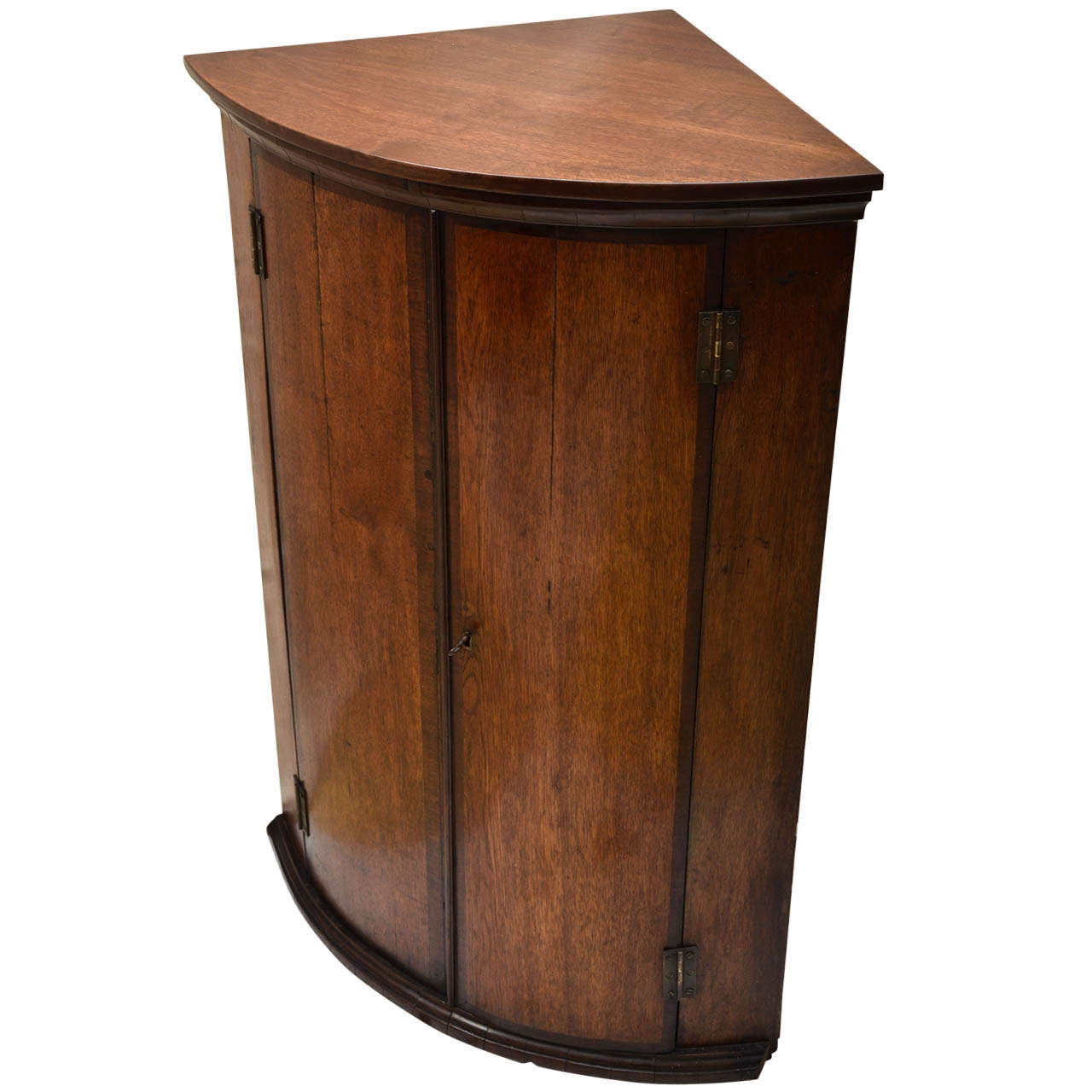 Superb 111 Oak Mahogany Crossbanded Bow Front Hanging Corner Cupboard At 1stdibs
