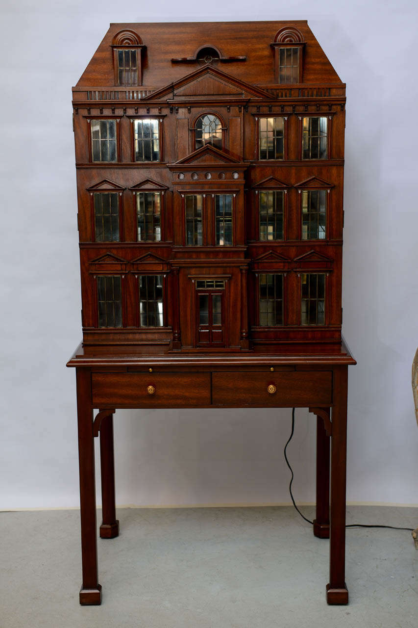 Gentil Very Unusual And Striking Doll House Bar Cabinet With Leaded Windows.