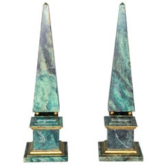 Pair of Faux Painted Wooden Obelisks