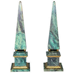 Pair of Faux Painted Wooden Obelisks