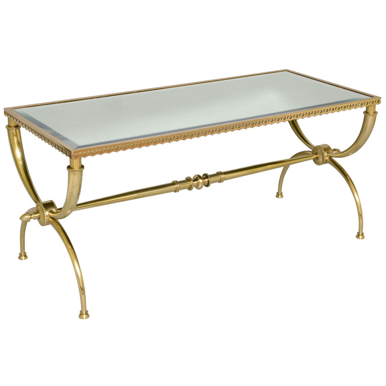 Brass Cocktail Table On X Frame Base With Mirrored Top At