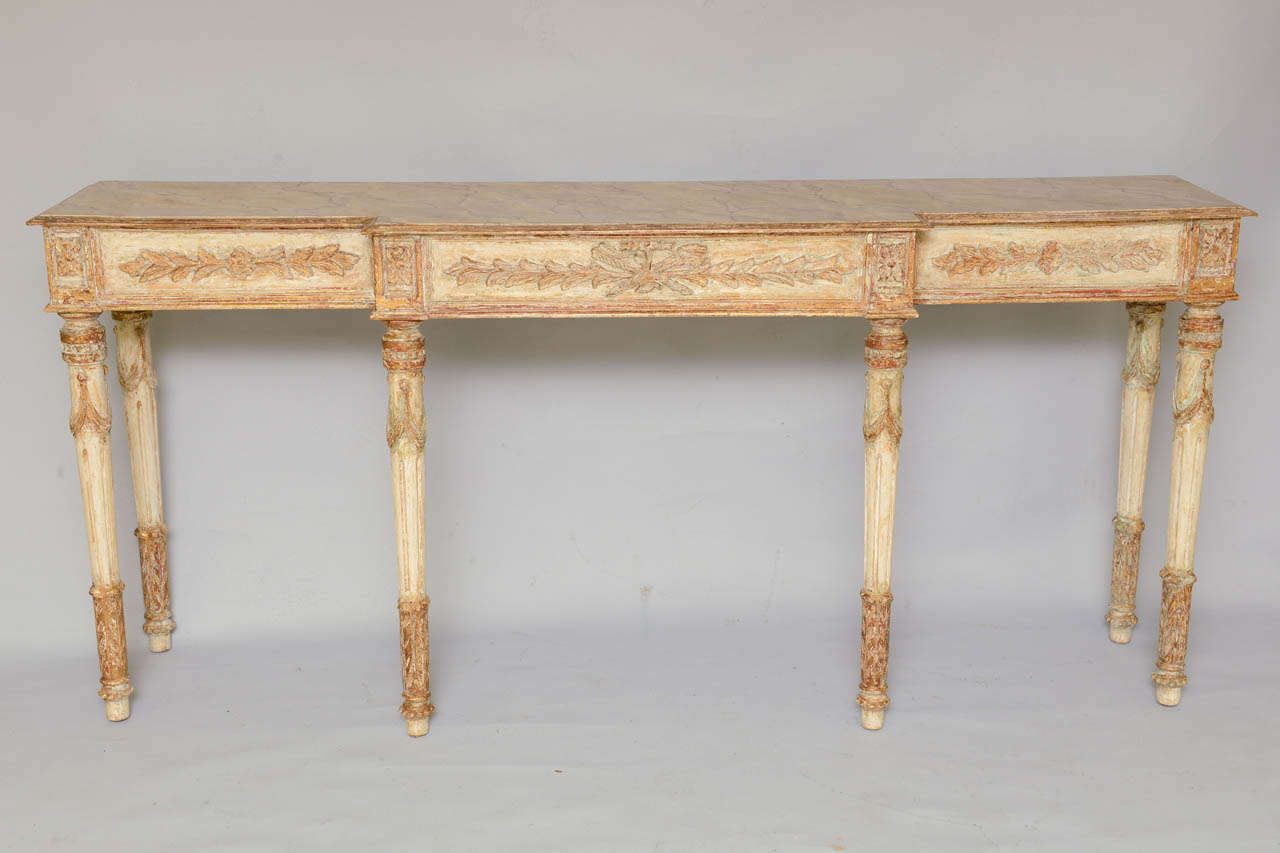 Long and narrow painted louis xvi style console table at for Long narrow console
