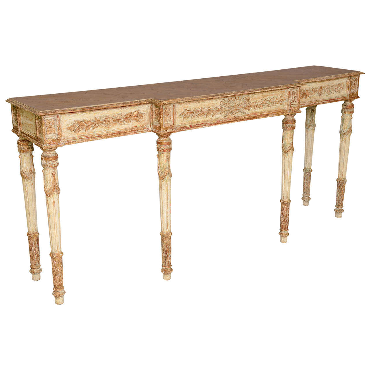 Long And Narrow Painted Louis XVI Style Console Table For Sale