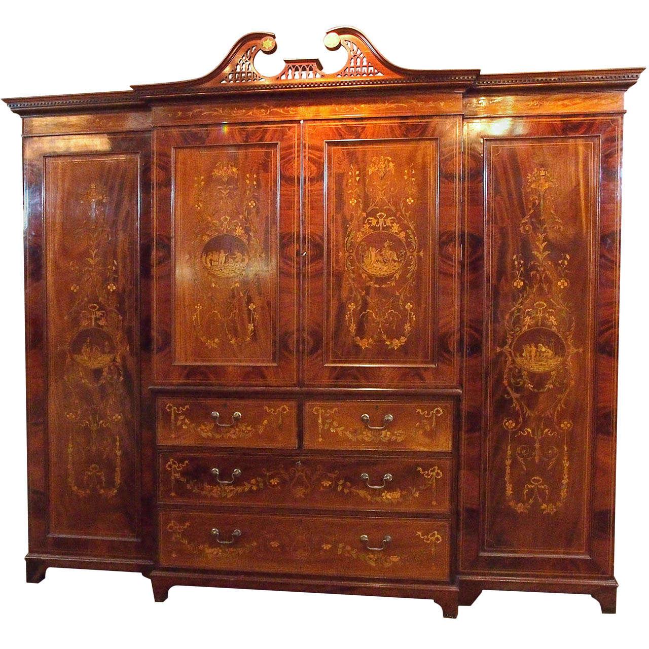 Antique English Mahogany Inlaid Cabinet Linen Press At 1stdibs