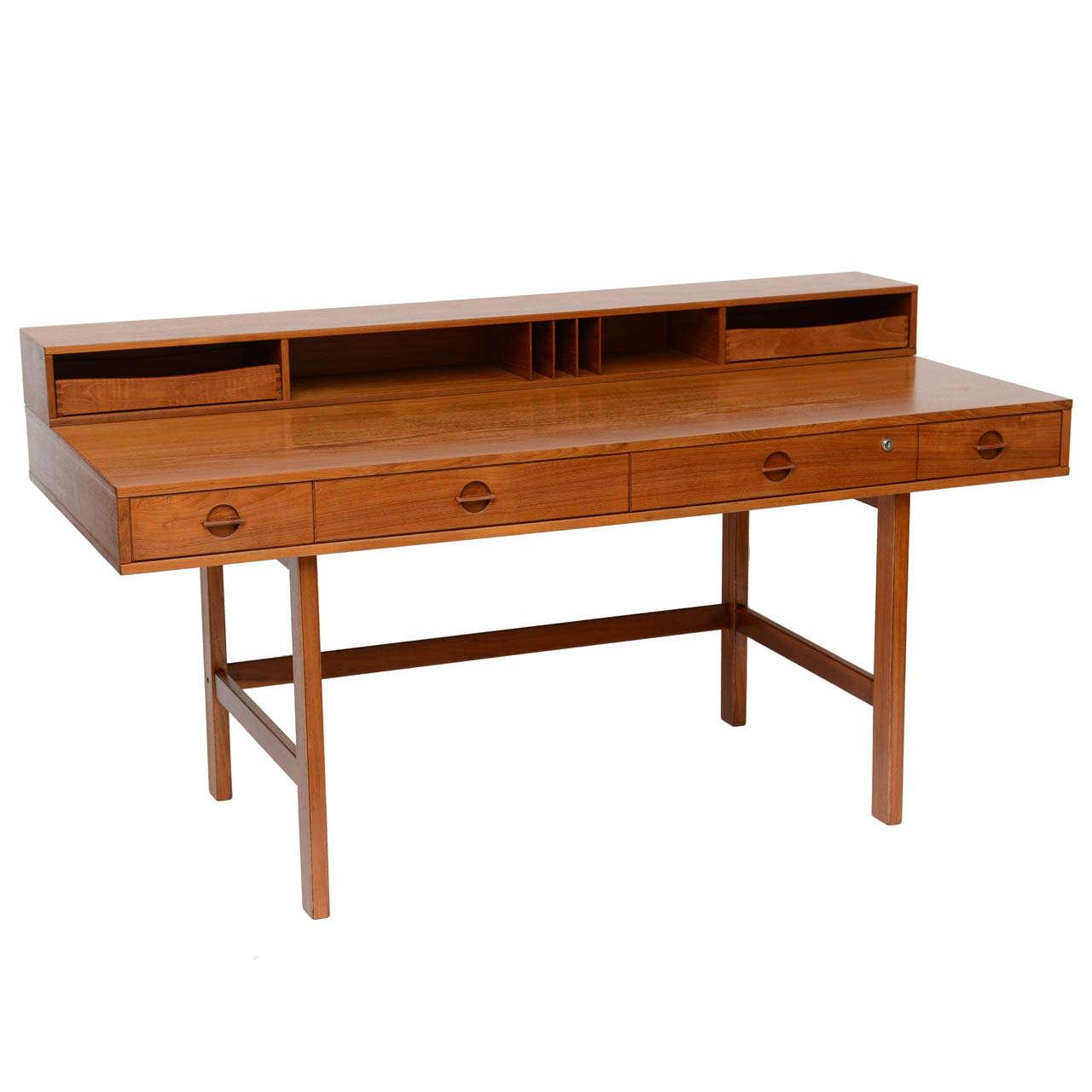 Lovig flip top teak desk by jens quistgaard at 1stdibs for Flip top computer desk