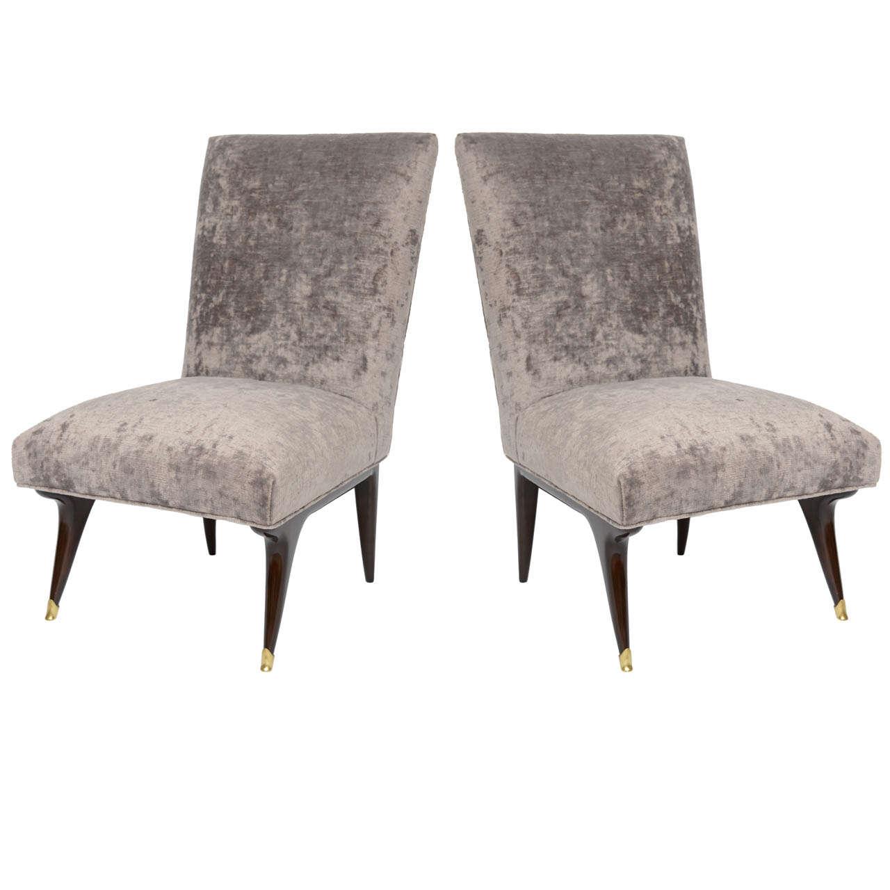 1950s Italian Walnut and Velvet Slipper Chairs