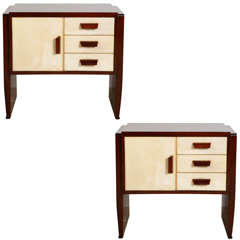 Pair of 1930s Parchment and Palissander Nightstand-Bedside Tables by Valzania