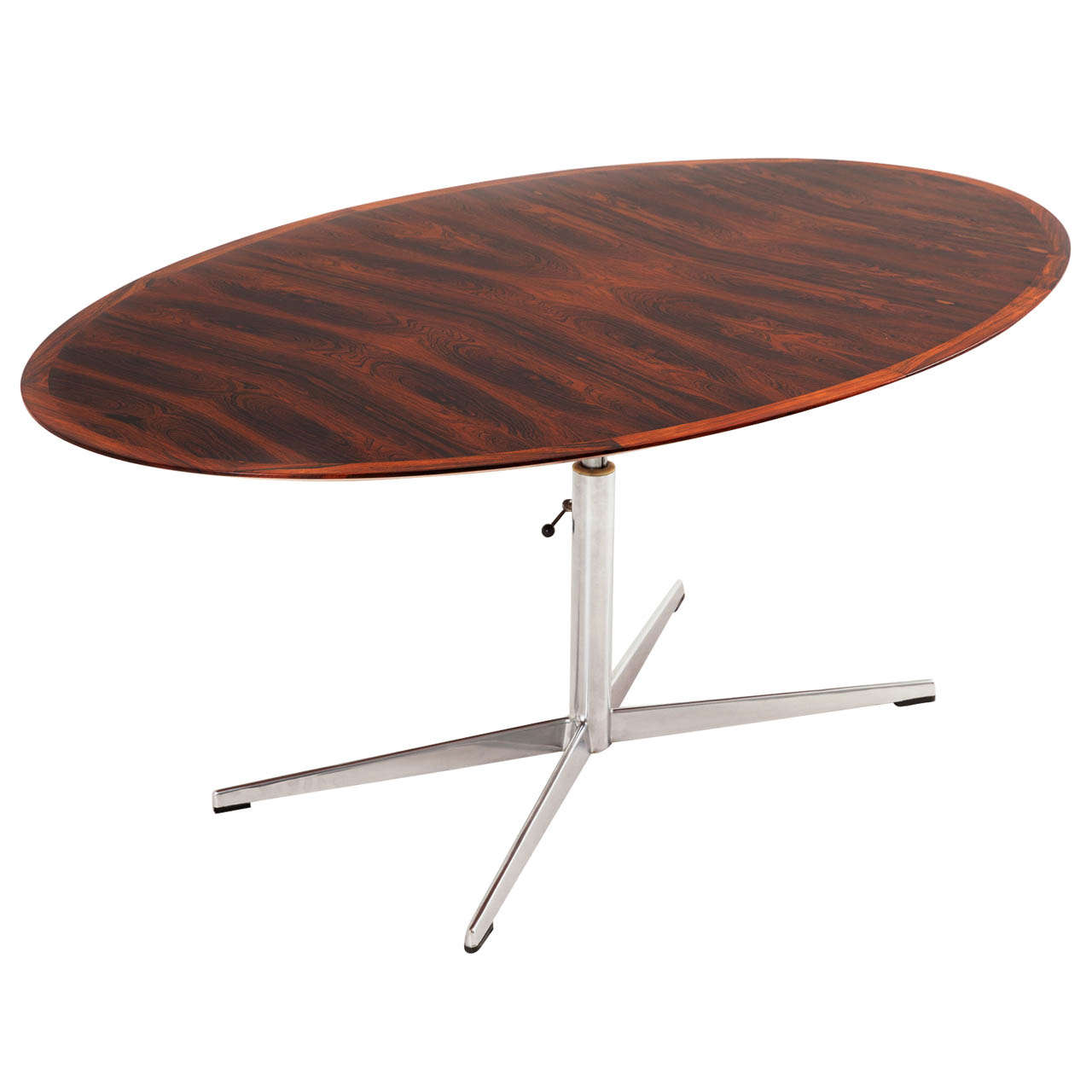 Oval Rosewood Table With Height Adjustable Pedestal Base At 1stdibs