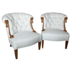 Pair Gilded Rope Chairs with Tufted Back