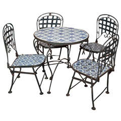 Child's Tile Top Table and Folding Metal Chairs