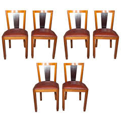 Set of Six Mid-century Teak and Rosewood Dining Chairs