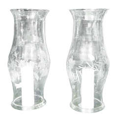 Pair of Handblown Etched Glass Hurricane Glasses