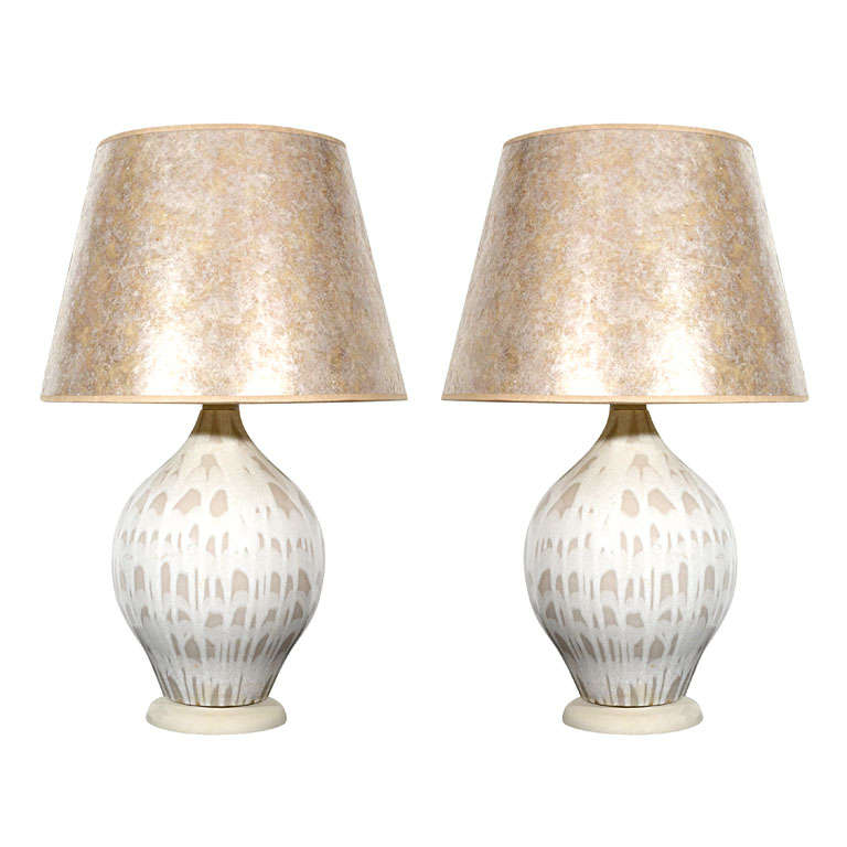 pair of ceramic lamps with mica shades at 1stdibs. Black Bedroom Furniture Sets. Home Design Ideas