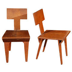 Pair of Plywood Side Chairs by Nathan Lerner