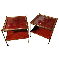 Pair of French Cinnebar Side Tables