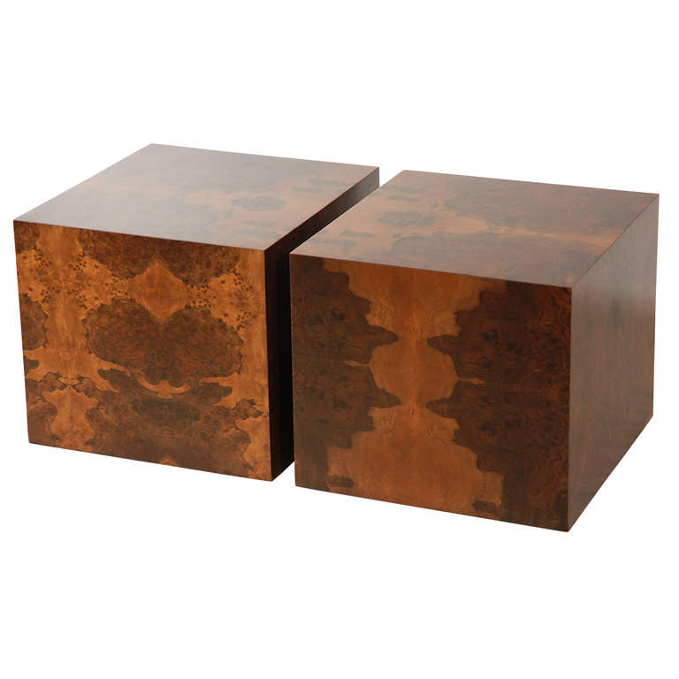 Pair Of Burl Cube Tables By Lawson Fenning At 1stdibs