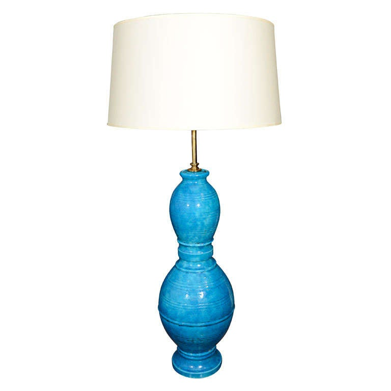 Italian Blue Incised Ceramic Table Lamp by Raymor