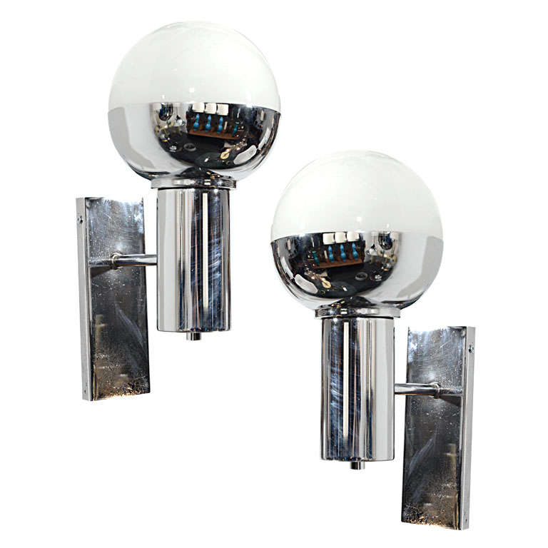 Pair of French Chrome & Glass Globe Sconces