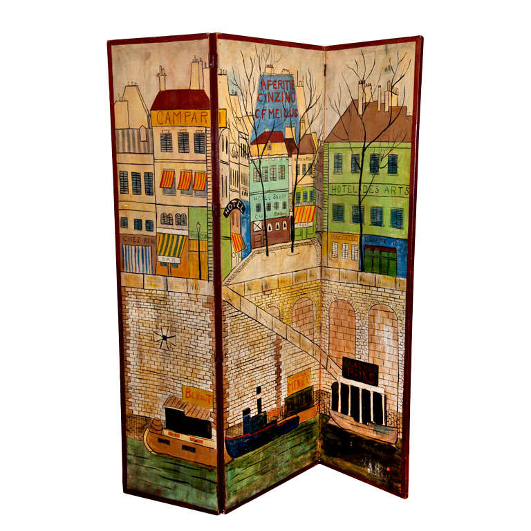 Three Panel Screen of Paris