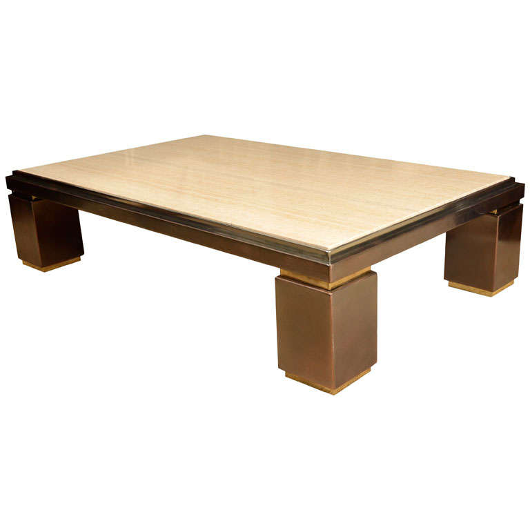 A Rectangular Travertine And Brass Low Coffee Table. At