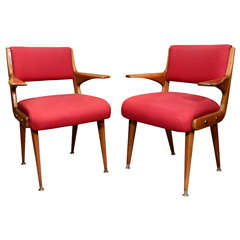 Pair of Rosewood Armchairs Attributed to Carlo Di Carli