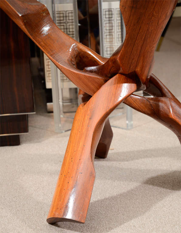 Natural knotted rosewood tripod end table with 3/4