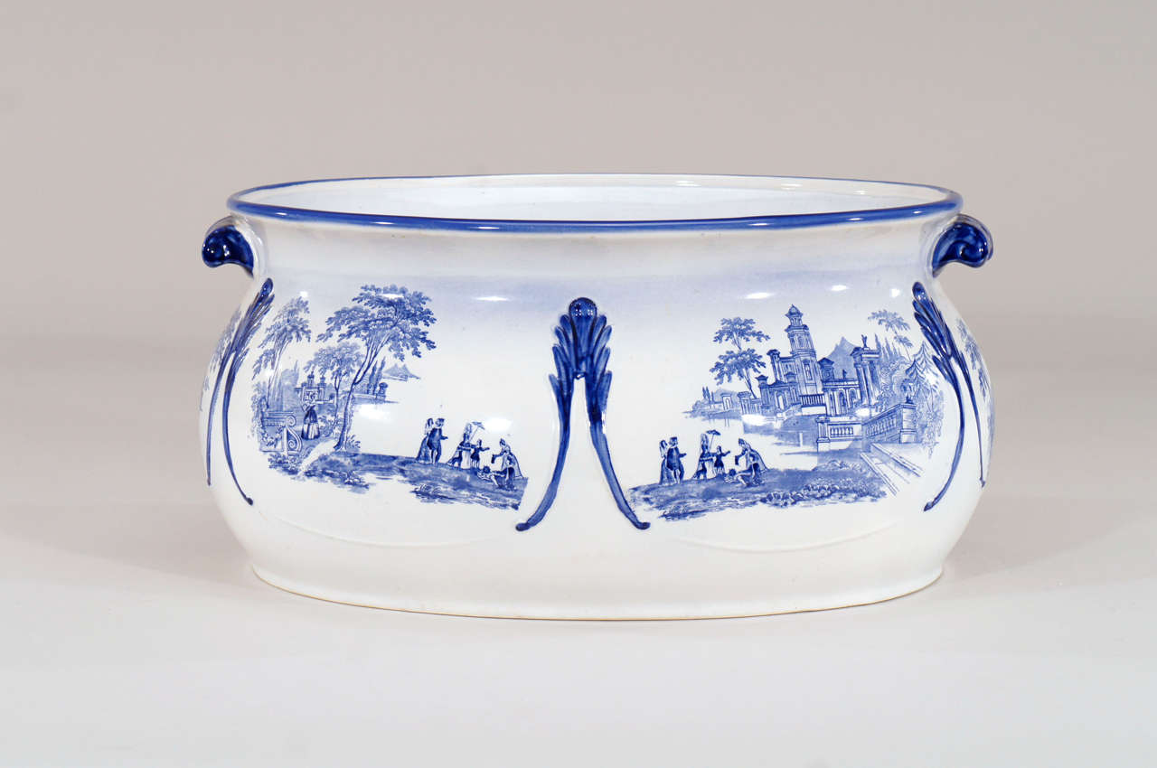 British 19th c English Blue & White Transfer Foot Bath For Sale