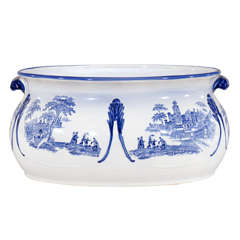 19th c English Blue & White Transfer Foot Bath