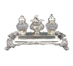 Victorian Sterling Silver & Cut Crystal Double Inkwell Rawlings & Sumner