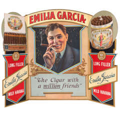 Tri-fold window advertisement for Emilia Garcia cigars
