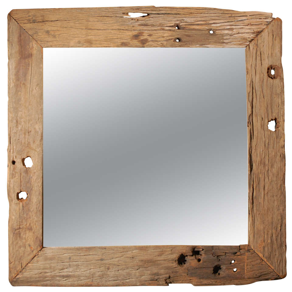 Large rustic wood framed mirror at 1stdibs for Wood framed mirrors