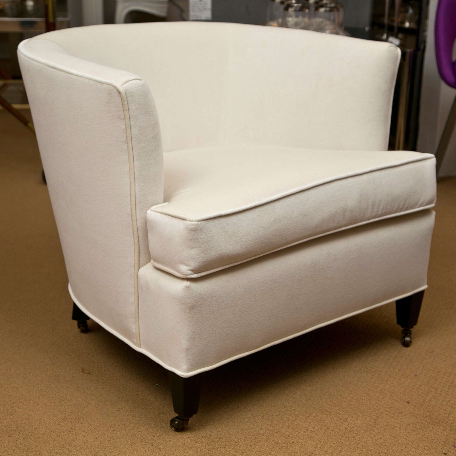 Pair Of Tub Chairs With Casters For Sale 1