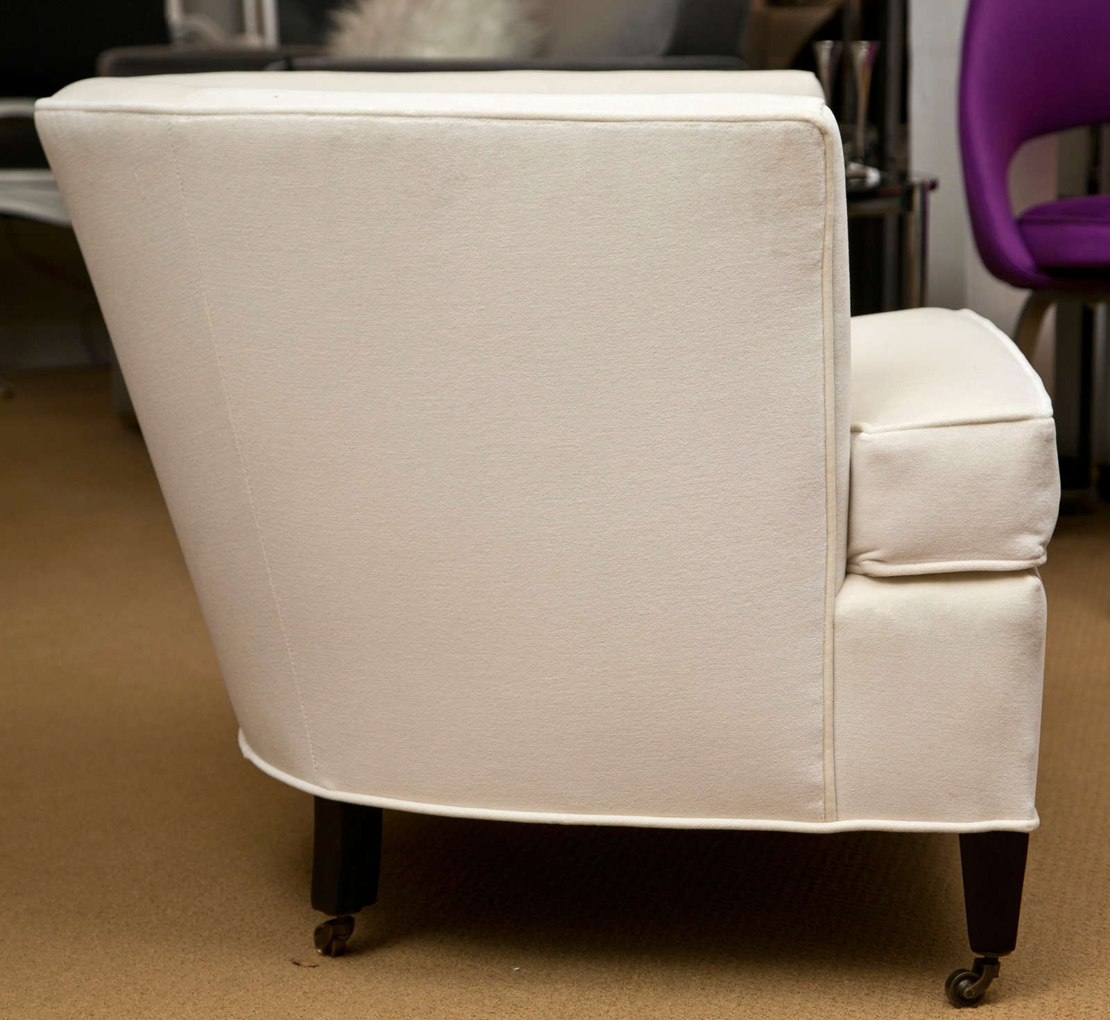 American Pair Of Tub Chairs With Casters For Sale