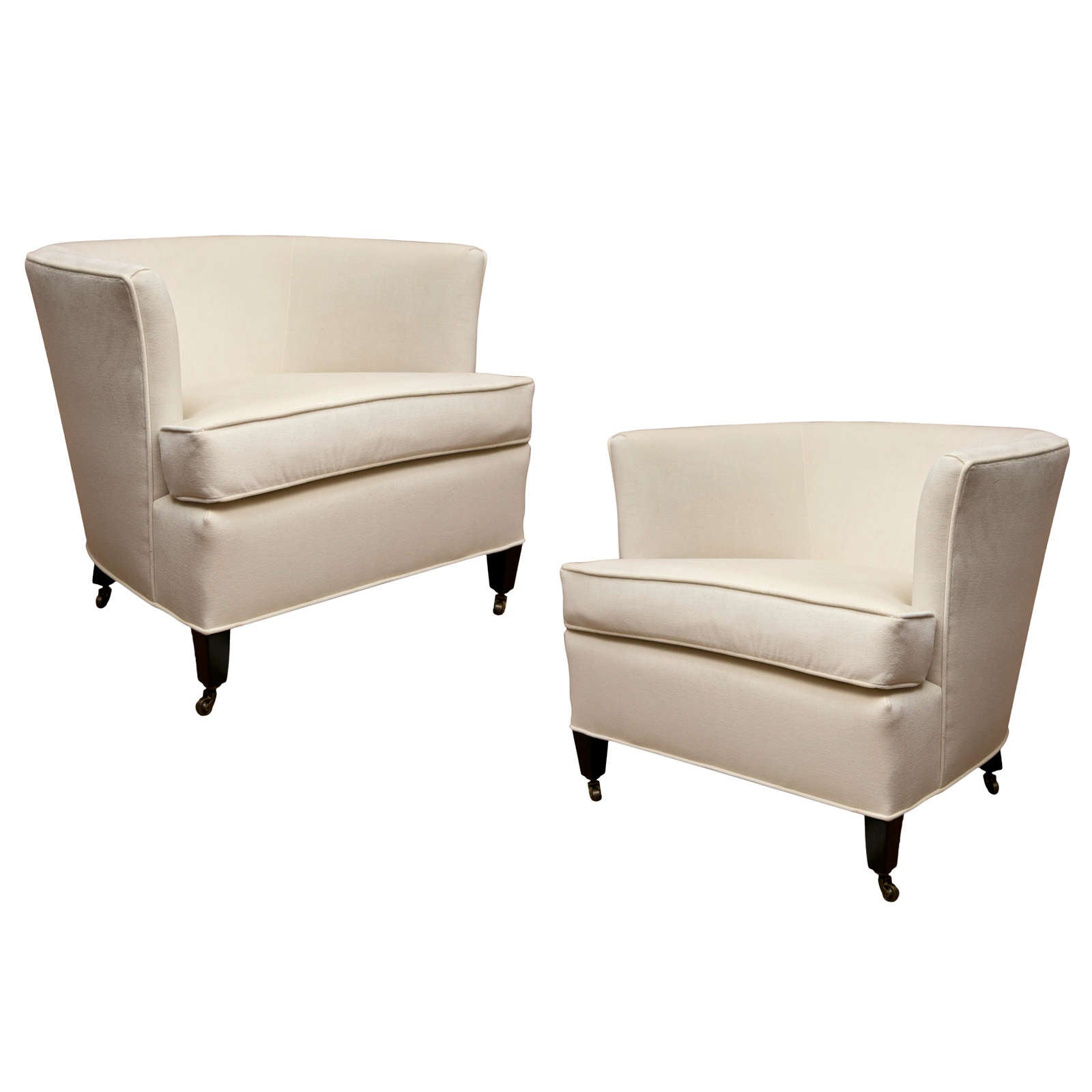 Beau Pair Of Tub Chairs With Casters For Sale